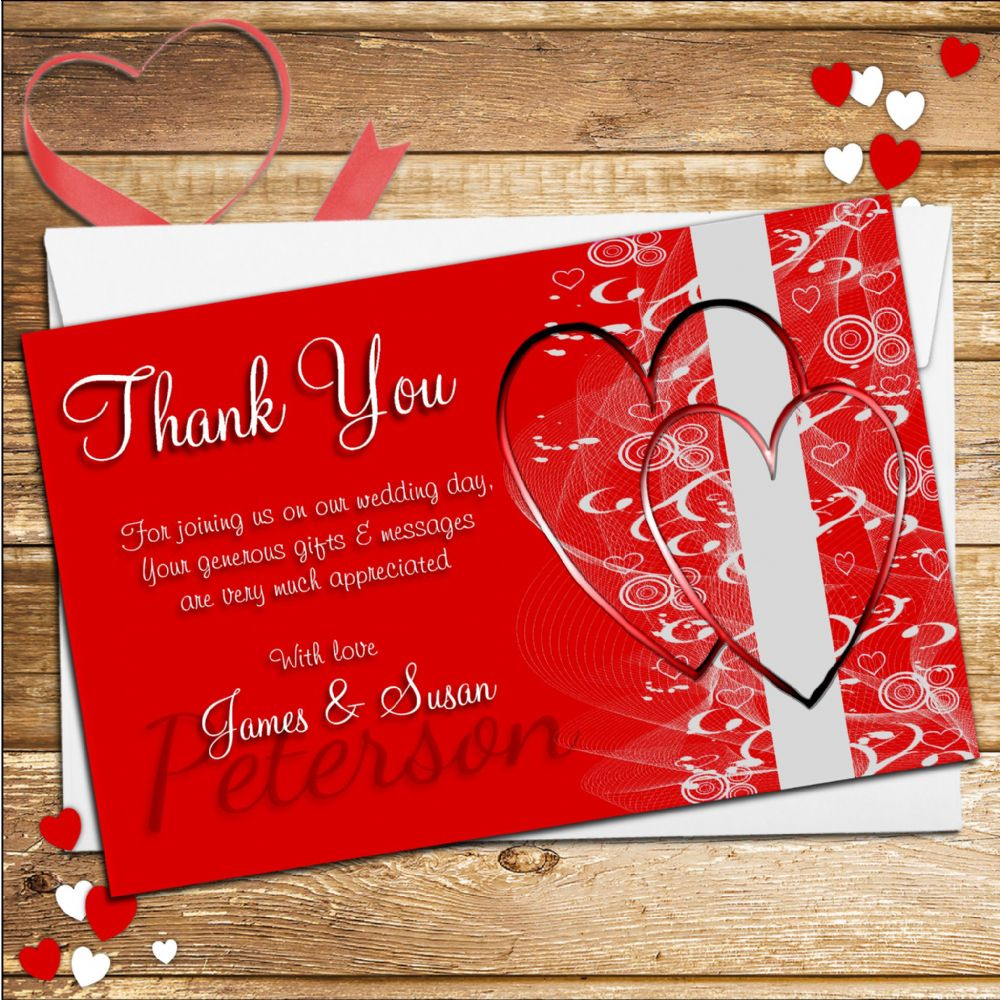 10 Personalised Red Hearts Wedding Day Thank You Cards N125